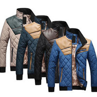 New Men's Quilted Jacket Cotton-padded leather Winter Slim Coat 4 Color #YY501