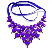 Bright Purple Bib Necklace, Rhinestone Statement, Sparkling, Jeweled Bib, Bold Accessory