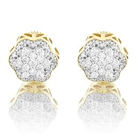 10K Gold Flower Circle Real Diamonds Micro Pave Earrings