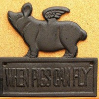 Cast Iron When Pigs Can Fly 25 Inch Plaque