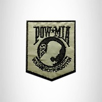 REFLECTIVE POW MIA Shield Small Patch Iron on for Vest Jacket SB622