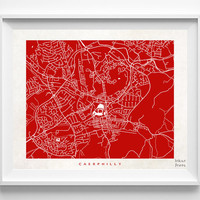 Caerphilly Map Print, South Wales Print, Caerphilly Poster, Street Art, Wall Decor, Wedding Gift, Office Decor, Kid Art, Halloween Decor