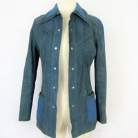 Vintage 70's Hong Kong World Knits Suede & Wool Jacket XS