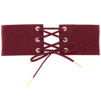 Thick Faux Suede Lace Up Corset Choker Necklace - Burgundy
