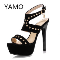 New 2016 high heel shoes woman sandals rhinestone platform pumps high-heeled shoes summer women pumps fashion party prom shoes