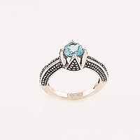 Blue Topaz Solitaire Sterling SIlver Ring