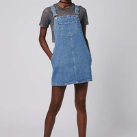 PETITE Square Neck Denim Pinafore