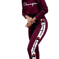 Champion tide brand female embroidery printed long-sleeved jacket sports suit two-piece Red