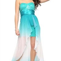 Ombre Strapless Dress with Sequin Bodice and High Low Hem