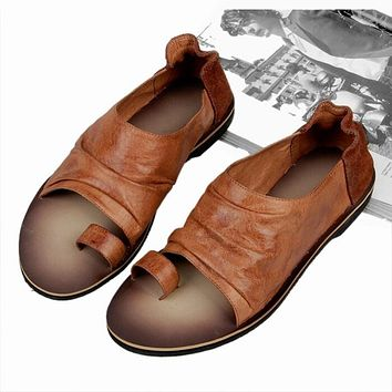 Men Vintage Genuine Leather Casual Beach Flat Thongs Roman Flip Flop Sandals Summer Outdoor Shoes