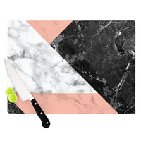 "KESS Original ""Geo Marble and Coral"" Black Art Deco Cutting Board"