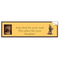 Jesus and the Soldier Bumper Stickers from Zazzle.com