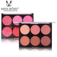 Blusher Palette 6 Color Blush Face Pigment Minerals Pressed Powder Bronzer Cheek Colors Contour Pallete