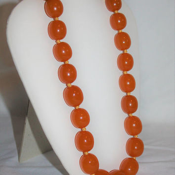 Vintage Butterscotch Amber Lucite Bead Necklace, 1950s Chunky Bead Necklace