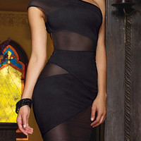 Black One-Shoulder Cut-Out Mesh Bodycon Mini Dress