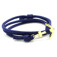 The Gold Anchor Bracelet in Midnight Blue