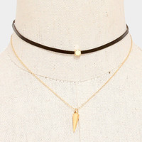 Faux Leather Metal Spike Drop Choker Necklace - Gold