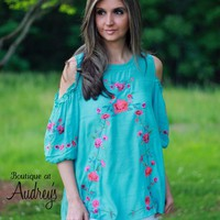 Umgee Turquoise Cold Shoulder Blouse with Embroidered Flowers