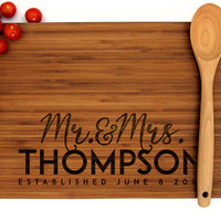 Personalized Cutting Board, Wedding Gift, Mr and Mrs Monogram, Housewarming Gift, Engagement Gift, Bride and Groom, Summer Wedding Gift