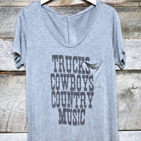 Trucks, Cowboys, Country Music Graphic Top Plus