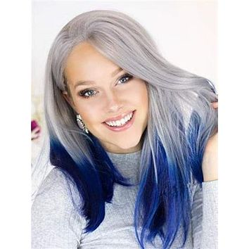 Short Centaury Silver Blue Ombre Synthetic Lace Front Wig