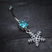 Stars and Snowflakes Belly Button Ring