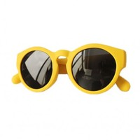LUCLUC Yellow Retro Big Round Frame Sunglasses - LUCLUC