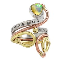 Ethiopian Opal Three Tone Sterling Silver Adjustable Ring