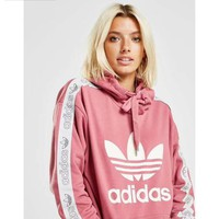 ADIDAS 2018 new long-sleeved early autumn tide brand thin hooded sweater Pink