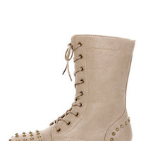 Libby 02 Taupe Studded Lace-Up Combat Boots