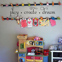 Play Create Dream Quote Vinyl Wall Decal Sticker