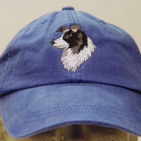 BORDER COLLIE Dog Hat - One Embroidered Men Women Cap - Price Embroidery Apparel - 24 Color Caps Available
