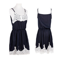 Dark Blue Sleeveless with Crochet Lace Patchwork Chiffon Mini Dress