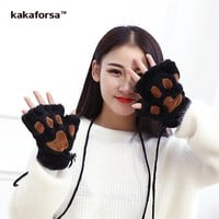 New Women Winter Warm Cute Cat Paw Gloves High Quality Long White Fingerless Gloves for Girls Casual Solid Fluffy Plush Mittens