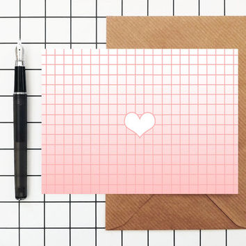 Valentine's Card Heart Love - Blank - Greetings Card Pink Grid Ombre