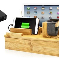 PowerBot Bamboo Multi Charging Station and Charger