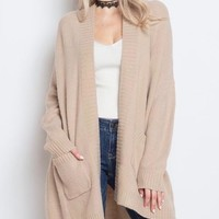 Dreamers - Soft Yarn Open Front Cardigan in Natural