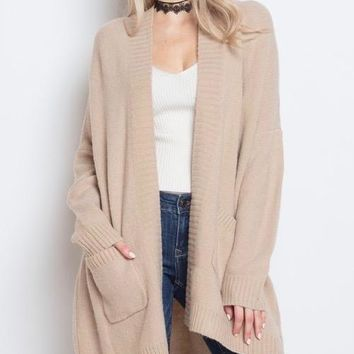 dreamers - soft yarn open front cardigan - natural
