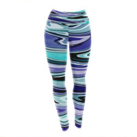 "Nika Martinez ""Beach Waves"" Teal Abstract Yoga Leggings"