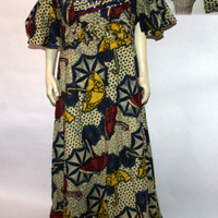 Rain Song- African Block Wax Print 100% Cotton - 3 piece outfit includes fully lined dress, wrap skirt, scarf. Hand Made