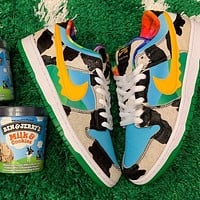 NIKE SB Dunk low pro Cow cashew flower board shoes SB joint low-cut breathable men's shoes sports shoes sneakers