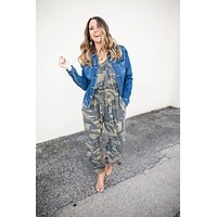 On To It Camo Jumpsuit