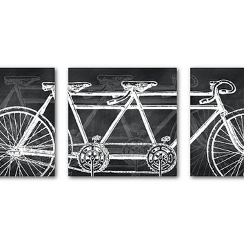 Vintage Art Print - Tandem Bike Wall Art Set of Three 8 x 8 or larger Prints - Wall Art Trio - Room Decor Trio Modern Art - bike for two