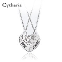 best friends BFF Necklace heart Broken 2 crystal angel wings Puzzle Stitching Necklace bestfriends for 2 Friendship Necklaces