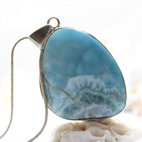 Larimar Turquoise Blue Rustic Reversible Pendant Sea Green Rocky Beach Sterling Silver Pectolite stone necklace 925 OOAK