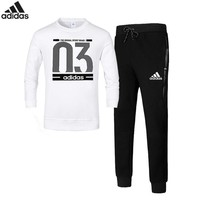 Adidas Number 03 autumn and winter new sports and leisure plus velvet warm two-piece White
