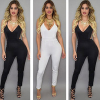 Jumpsuits deep V-Neck  sexy  Rompers Straps Backless  pants Cross back