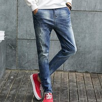 Men Ripped Holes Cotton Slim Denim Pants Jeans [6528728643]