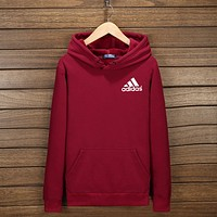 """Adidas"" Women Men Fashion Hooded Top Pullover Sweater Sweatshirt Hoodie Wine red I-YSSA-Z"