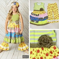 New Design 2017 Kids Summer Outfits Floral Swing Dress Yellow Ruffles Pants Boutique 2 Pcs Kintted Cotton Clothing Sets S135